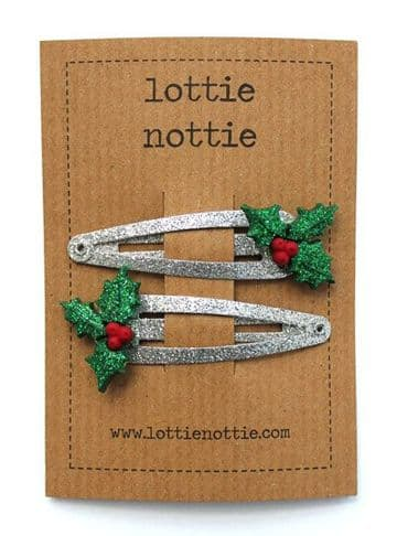Lottie Nottie - Holly on Silver Sparkly Hair Clips