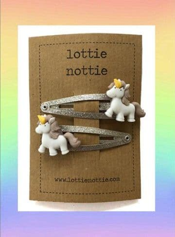 Lottie Nottie - Unicorns on Silver Clips
