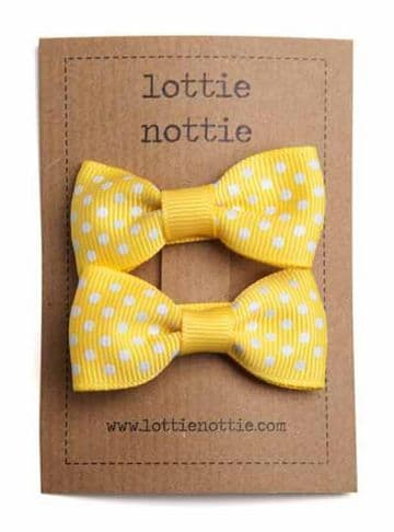 Lottie Nottie - Yellow Swiss Dot Bows