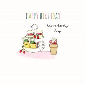 LS - Cake Stand Happy Birthday Card