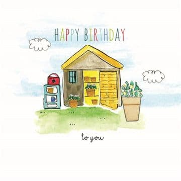 LS - Red Radio Garden Shed Happy Birthday Card