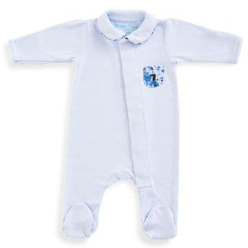 Magnet Mouse - Blue Cotton Babygrow with Liberty Print Pocket