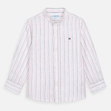 Mayoral - Coral Stripe Linen Collarless Long Sleeve Shirt