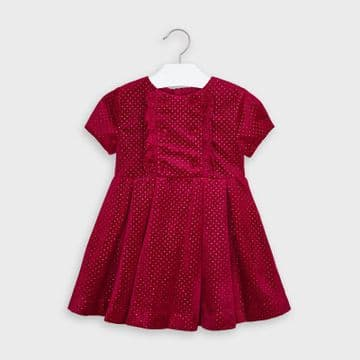 Mayoral - Ruby Red Glitter Polka Dot Dress