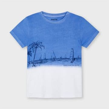 Mayoral - Waves Blue Dip Dye Palm T-Shirt