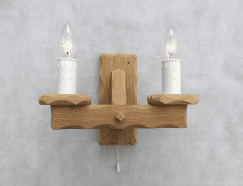 Oak 2-Light Wooden Wall Light with Pull Switch