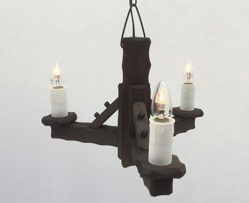 Traditional Rustic 3-Light Wooden Pendant/Ceiling Light