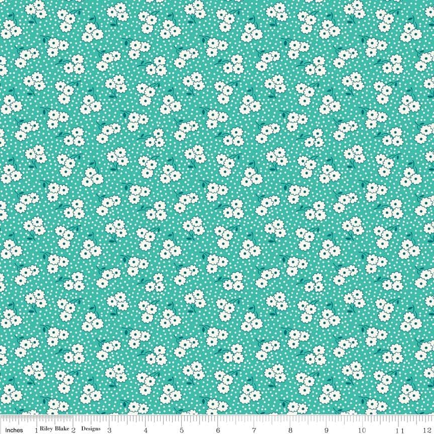 0.75m Remnant - Ditsy Teal Hope Chest Penny Rose fabrics