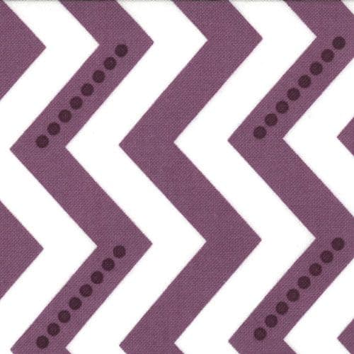 1.9m Remnant White and Eggplant Dotted Zig Zag Fabric