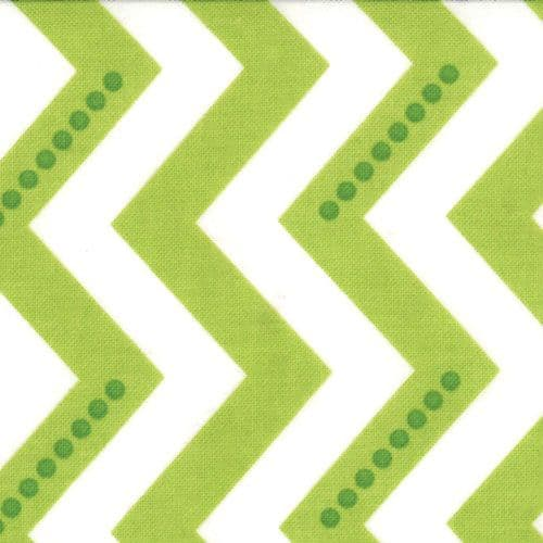1m Remnant - White and Lime Green Dotted Zig Zag Fabric
