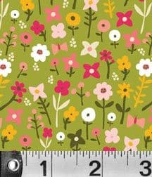 2.25m Remnant Village Flowers Fabric Carolyn Gavin
