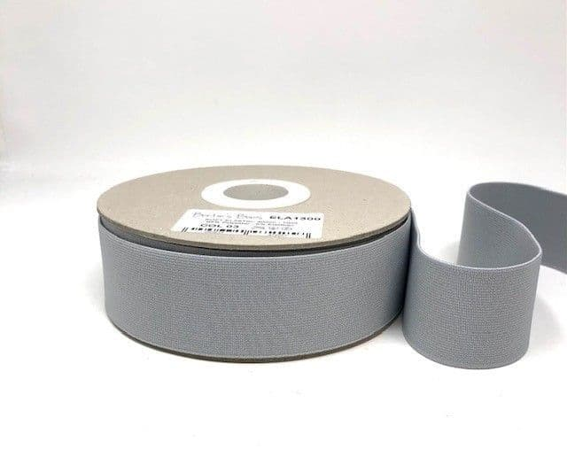 40mm Soft Elastic - Silver Grey x 1mtr