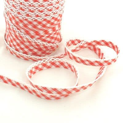 Lace Edge Gingham Double Fold Bias Binding