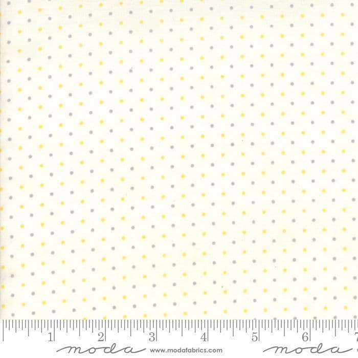 Moda Fabrics - Essentially Yours Mini Polka Dots - Yellow Grey - per quarter metre