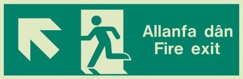 (428UR) Jalite Welsh Fire Exit Up Left Sign Allanfa Dan up left sign