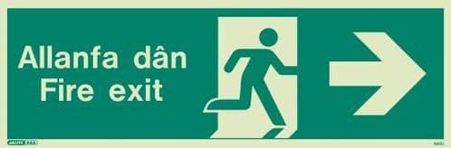(480UR) Jalite Welsh Fire Exit Progress Right Sign Allanfa Dan right sign