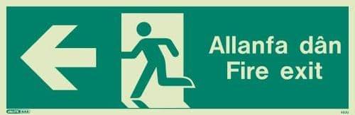 (483UR) Jalite Welsh Fire Exit Progress Left Sign Allanfa Dan left sign