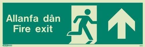 (484UR) Jalite Welsh Fire Exit Progress Forward Sign Allanfa Dan up sign