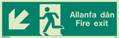 (490UR) Jalite Welsh Fire Exit Progress Down Left Sign Allanfa Dan down left sign