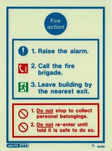 (5055D) Jalite Fire Action Notice Sign