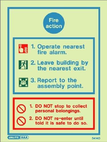 (5414D) Jalite Fire Action Notice Sign