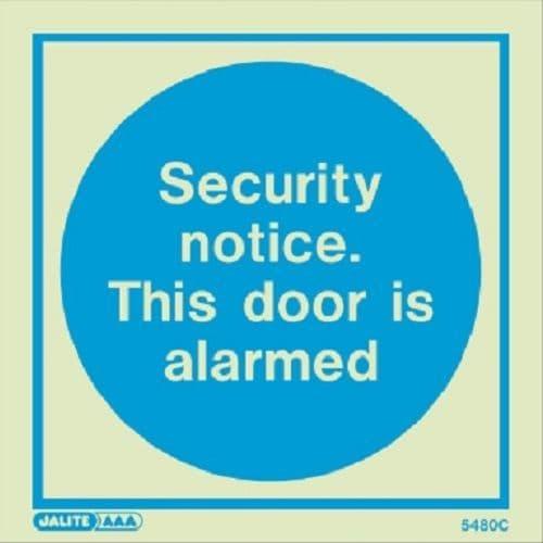 (5480)  Security notice. This door is alarmed