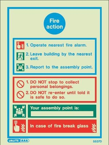 (5537) Jalite Fire Action Notice Sign with assembly point