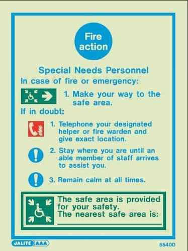 (5540D) Fire Action Notice - Special Needs Personnel
