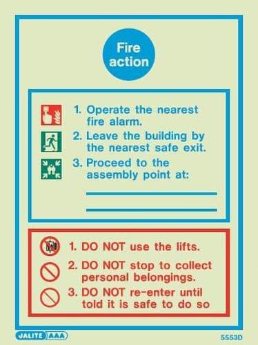 (5553D) Jalite Fire Action Notice Sign
