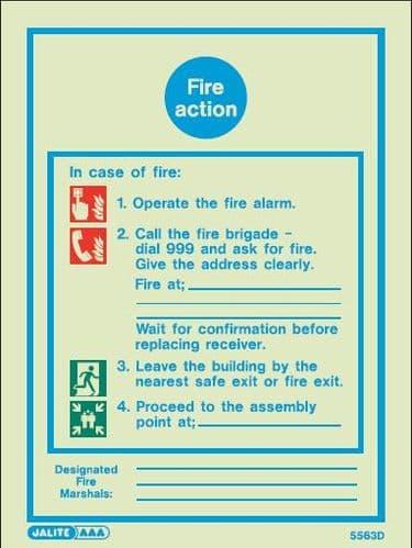(5563D) Jalite Fire Action Notice Sign