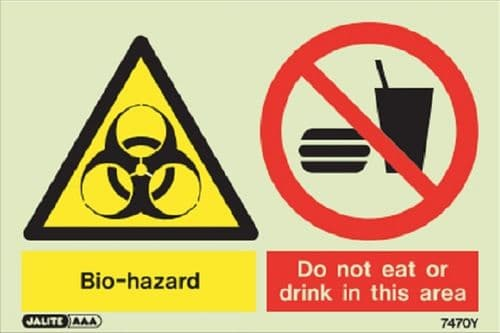(7470Y) Jalite Bio-hazard Do not eat or drink in this area sign (image of food/drink may vary)