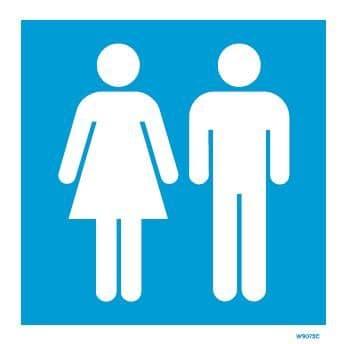 (W9073) Rigid PVC Blue Ladies & Gents Toilet sign