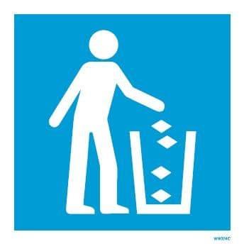 (W9074) Rigid PVC Blue Litter bin sign