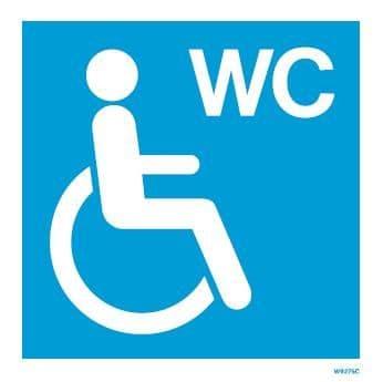 (W9275) Rigid PVC Blue Disabled toilet sign