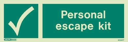 Jalite Personal Escape Kit Sign (4024)
