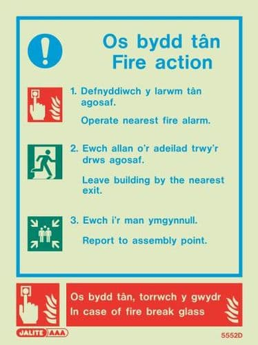 Welsh / English - Fire Action Notices