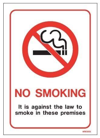 White Vinyl Smoking Prohibition Signs