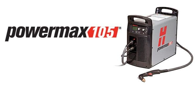 059422 Hypertherm Powermax 105 Plasma cutting machine, 50mm capacity. 2 Hand torches.
