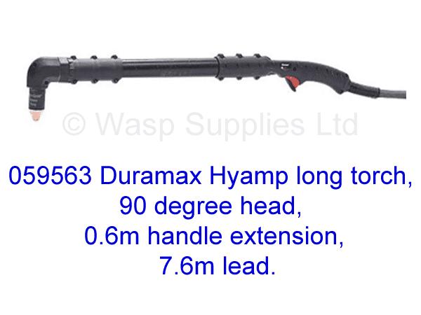 059563 Hypertherm Hyamp long torch 90 degree, 0.6m handle 7.6m lead .