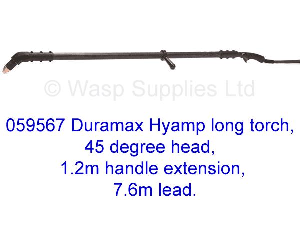 059567 Hypertherm Hyamp long torch 45 degree, 1.2m handle 7.6m lead .
