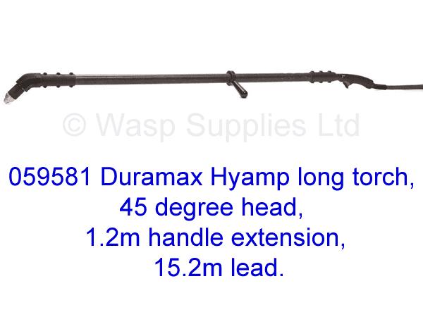 059581 Hypertherm Hyamp long torch 45 degree, 1.2m handle 15.2m lead .