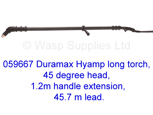 059667 Hypertherm Hyamp long torch 45 degree, 1.2m handle 45.7m lead .