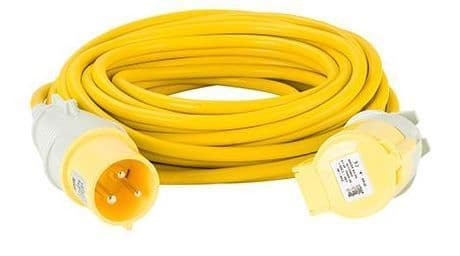110volt 32amp 14 metre 4.0 mm cable, extension lead yellow .