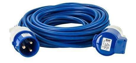 240 volt 32 amp 14 metre 2.5mm cable, extension lead blue.