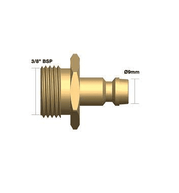 Adaptor 3/8 BSP male x quick fit water / gas fitting.