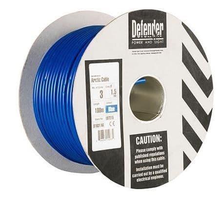 Defender E87215 1.5mm² x 3 core blue Arctic cable 240volt 100m drum
