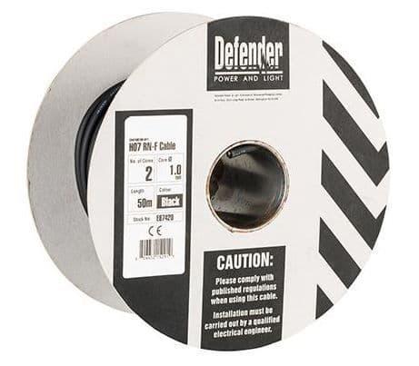 Defender E87420 1.0mm² 2 core 50m 110 / 240V  Rubber