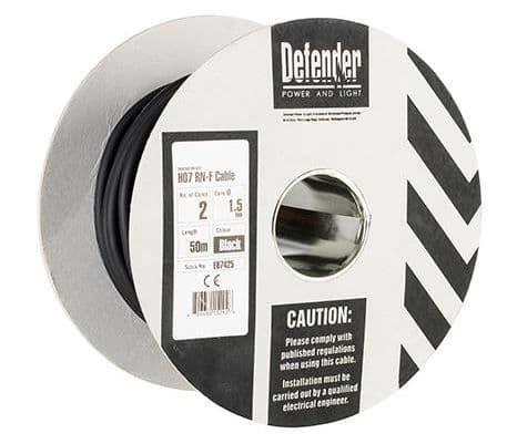 Defender E87425 1.5mm² 2 core 50m  110 / 240V Rubber