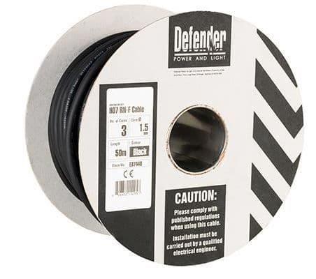 Defender E87440 1.5mm² 3 core 50m 110 / 240V Rubber