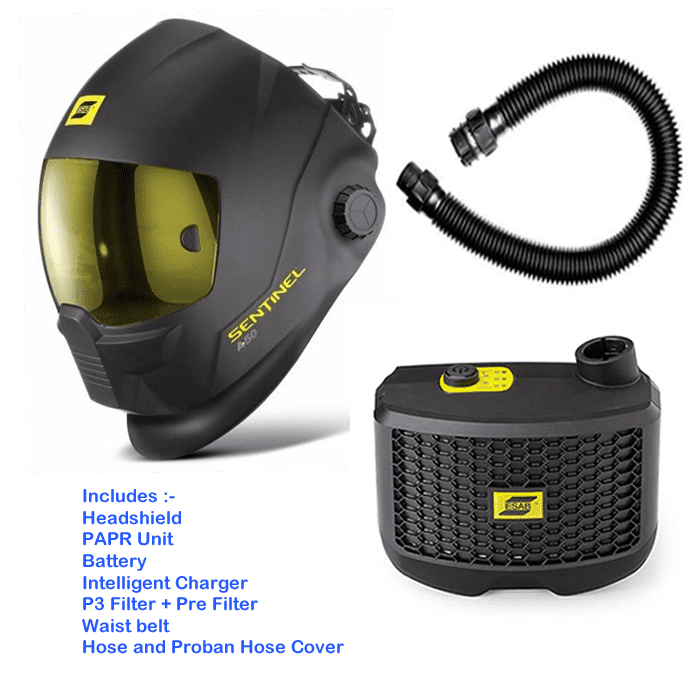 Esab Sentinel A50 welding Mask with Esab PAPR Air fed respirator - complete outfit ready to go, charge the  battery and weld.